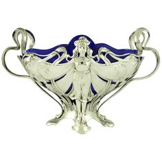 "Art Nouveau WMF flower dish with original blue glass liner, ""Art nouveau domestic metalwork from Württembergische Metallwaren Fabrik"