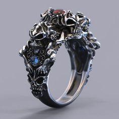 Biker Skull ring with Cabochon - 5 ring sizes 3D STL   3D Print Model