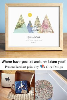 Personalized Wedding, Anniversary, and Engagement Gifts by AGierDesign Map Crafts, Home Crafts, Diy And Crafts, Crafts For Kids, Arts And Crafts, Craft Gifts, Diy Gifts, Crafty Craft, Crafting
