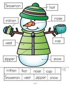 ***FREE*** 3 differentiated ways to label a Snowman: - cut and paste written labels on top of words; - cut and paste written labels on blank labels; - or write the words in the blank labels.