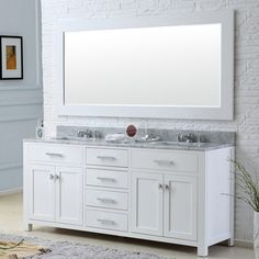 Add the luxury of Carrara marble to your bathroom makeover with this Madison double-sink bathroom vanity from Water Creation. Constructed of solid hardwood, this white bathroom vanity features five co Double Sink Bathroom, White Bathroom, Bathroom Vanities, Bathroom Ideas, Bathroom Remodeling, Bathroom Inspiration, Bathroom Stuff, Bath Ideas, Small Bathroom