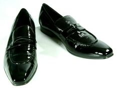 bc7bd664aed Carrucci Black Patent Leather Mens Pointed Loafer Dress Shoe Size 11 Euro  Size45  Carrucci  PointedDressLoafer  Any