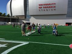 Field prep for Super Bowl XLIX