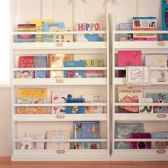 Child's Book Rack. LIke this the best with the metal label holders. However, it's from an APT THERAPY post from 2007, PB Kids, so it is long gone.