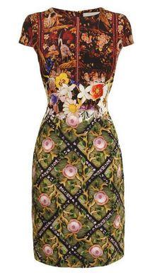 Mary Katrantzou. Hand beading by Jenny king embroidery.  Poppy Willard a graduate of Northbrook Textiles works for Jenny King embroidery
