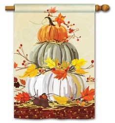 Wonderful Snap Shots Neutral Pumpkins House Flag - x - BreezeArt Tips Pumpkins are often lovely round, brilliant lemon, and in autumn they must not be missing especially Fall Canvas Painting, Autumn Painting, Autumn Art, Canvas Art, Fall Paintings, Pumpkin Painting, Acrylic Canvas, Diy Canvas, Pumpkin House