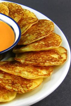 Perfect Bite: Uptown Hoe Cakes with Roasted Red Pepper Sauce - Foodie FridayOne Perfect Bite: Uptown Hoe Cakes with Roasted Red Pepper Sauce - Foodie Friday Crepes, Sauces, Hoe Cakes, Great Recipes, Favorite Recipes, Roasted Red Pepper Sauce, Sandwiches, Good Food, Yummy Food