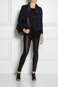 Navy brushed-leather Ribbed-knit wool sleeve inserts, three zipped front pockets, two internal buttoned patch pockets, shorter back hem, partially lined Asymmetric zip fastening through front Fabric1: 100% leather (Lamb); fabric2: 100% wool; lining1: 100% rayon; lining2: 62% nylon, 38% silk Specialist clean
