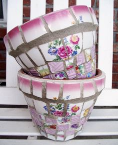 Recycled China Mosaic Flower Pot Pink and by TheMosaicButterfly