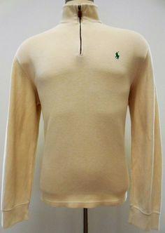 Polo Ralph Lauren Pullover L Ivory Beige w/ Green Pony Logo 1/2 Zip Cotton Mens* #PoloRalphLauren #12Zip