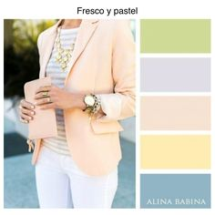 Pastels: yellow, peach, green, blue