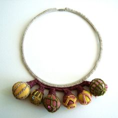 statement necklace crochet autumn colors by saraaires on Etsy