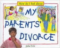 """How do I feel about My Parents' Diviorce"" is by Julia Cole. The illustrator is Christopher O'Neill. The photographer is Roger Vliltos. This book uses drawings (of possibly watercolor and pen) and photographs to make the pictures it has. The layout has topics discussing the kid's view of a divorce, from the beginning, through to afterwards. There are topics, speech bubbles, and numbered sequences of what could happen."