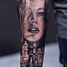 Checkmate... Portrait Tattoo by Silvano Fiato, Italian Tattoo Artist