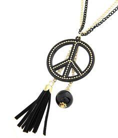 Tassel Peace Double Chain Necklace