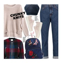 """Get Cozy: Chunky Knits (school style)"" by beebeely-look ❤ liked on Polyvore featuring 3.1 Phillip Lim, Buxom, Current/Elliott, NIKE, BackToSchool, plaid, schoolstyle, schooloutfit and chunkyknits"