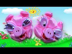 Поделки для детей своими руками. Зверюшки для детей. Поделка свинка из лент. - YouTube