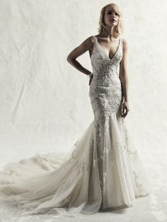 b9267a39865c Fully Beaded Sleeveless Fit And Flare Wedding Dress | Kleinfeld Bridal