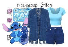 """""""Stitch"""" by leslieakay ❤ liked on Polyvore featuring Moschino, Manon Baptiste, Miss Selfridge, Stuart Weitzman, CZ by Kenneth Jay Lane, disney, disneybound and disneycharacter"""