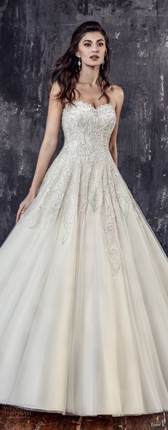 eddy k 2018 bridal strapless sweetheart neckline heavily embellished bodice glamorous princess a line wedding dress chapel train (205) mv -- Eddy K. Couture 2018 Wedding Dresses