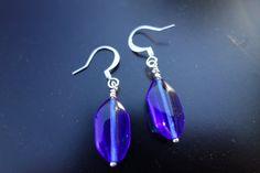 Cobalt Blue Bead Dangle Earrings by BeadingforChange on Etsy