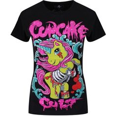 Cupcake Cult Women's Zombie Pony T-shirt Black ($33) ❤ liked on Polyvore featuring tops and t-shirts