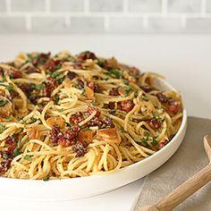 Spaghetti alla Carbonara: full of pancetta, garlic, Italian cheeses & white wine #foodgawker