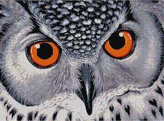 PORTRAIT OF A SNOWY OWL~DELICA BEAD PEYOTE PATTERN ONLY