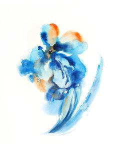 Watercolor Painting Art Print - Abstract Flower - Turquoise Orange - Minimalist - Modern - Wall Art - Watercolor Art #wallart #print