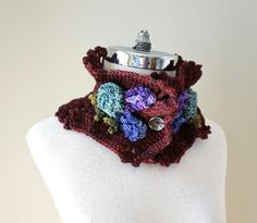Lavender Rose scarf, Burgandy, Purple and Green in hand painted merino wool, Ruffle scarf, Floral scarf, burgandy scarf, Rose, lavender by ValerieBaberDesigns on Etsy