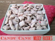 Candy Cane Muddy Buddies . . . a great and easy treat for the holidays.  #candy cane #muddy buddies