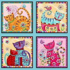 "Henry Glass Co. ""Cool Cats"" por Debi Hron gatos Cool Cat Panel 21 cuadras aprox. 1/2 yarda"
