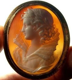 In the Swan's Shadow: Cameo; Renaissance dressed woman, ca. 1860