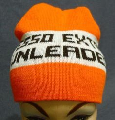 7289c548379 Esso Extra Unleaded Gas Toque Winter Hat Orange Brown Cream Acrylic Canada
