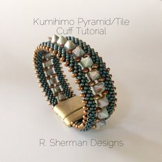 PDF TUTORIALS  Kumihimo Pyramid/Tile Cuff di RShermanDesigns