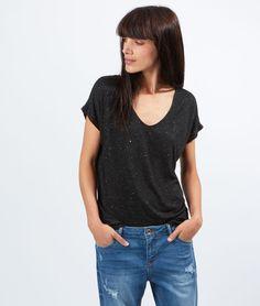 T-shirt brillant col V - ALTHEA - NOIR - Etam