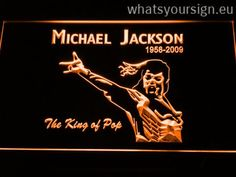 Michael Jackson 1958-2009 - LED neon light sign display made of the highest quality clear plastic and briliant colorful illumination. The neon sign displays exactly the same from all angles thanks to the carving with the newest 3D laser engraving process. This LED neon sign is a great gift idea! The neon is provided with a metal chain for displaying. Available in 3 sizes in following colours: Red, Orange, Blue, Yellow, Purple, Green and White!