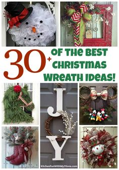 Over 30 of the BEST Christmas Wreath Ideas! These DIY Holiday Wreaths are easy to make and beautiful decorating ideas for you door! Christmas Wreaths To Make, Diy Christmas Gifts, Holiday Wreaths, Christmas Projects, Christmas Holidays, Christmas Ornaments, Christmas Ideas, Christmas Decorations, Mesh Wreaths