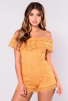 - Available in Mustard and White - Crochet Off Shoulder Romper - Nude Lining - Crochet Overlay - 100% Polyester