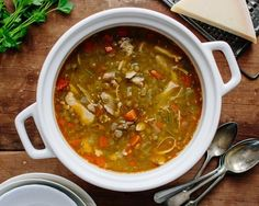 Recipe: Chicken Lentil Soup — Dinner Recipes from The Kitchn (Made it without the chicken and water instead of broth because I ran out. Would have liked to add miso but was out also.