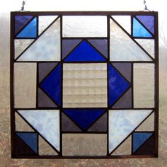 Handmade Stained Glass Quilt Square Hanging Panel by 2GlassThumbs