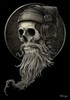 Pin by Horst Kmieciak on Kopfhörer tattoo in 2020 Totenkopf Tattoos, Beard Logo, Beard Tattoo, Skull Tattoos, Tatoos, Trash Polka Tattoos, Hirsch Tattoo, Patchy Beard, Skull Art