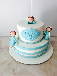 Bolo Batizado Menino  Anjos Azul Cake  Cakedesign