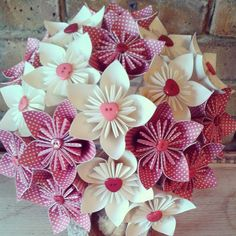 Red hearts polka dot retro vintage wedding inspiration origami paper bouquet. Best most popular trending bouquets 2015