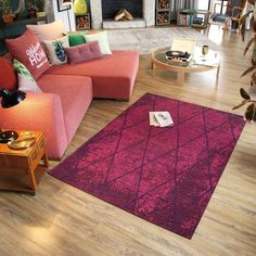 Theko 260 Fine Lines Berry Rug by Tom Tailor Acrylic Fiber, Berry, Toms, Interior Decorating, Rug Features, Living Room, Cool Stuff, Bedroom, Table