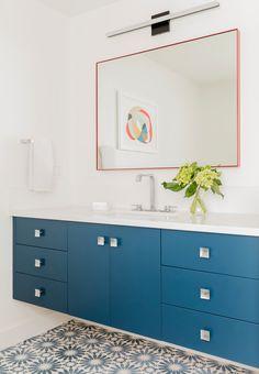 bright blue bathroom cabinets
