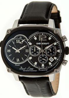 Uhr-Kraft Dual Timer Oval Office Black Steel Watch