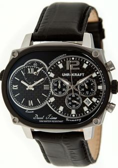 Uhr-Kraft Dual Timer Oval Office Black Steel Watch