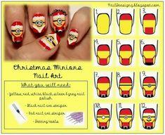 DIY Cute Christmas Minion Nail Art --> http://wonderfuldiy.com/wonderful-diy-cute-christmas-minion-nail-art/ #diy #nailart