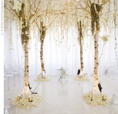 white orchid wedding ceremony decor